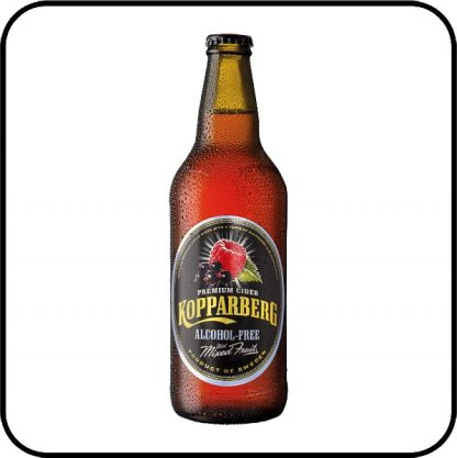 Bottle of Kopparberg alcohol free mixed fruits cider, on sale from Dry Drinker