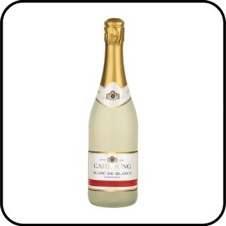 Bottle of Carl Jung Blanc de Blancs non alcoholic sparkling wine