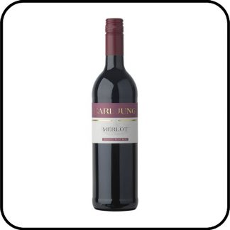 A bottle of Carl Jung Merlot non alcoholic red wine.
