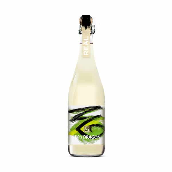Bottle of Real Kombucha Dry Dragon 75cl with cork and cage