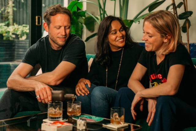 Three founders of Three Spirits, Dash Lilley, Meeta Gournay and Tatiana Mercer share a drink